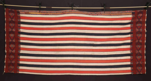 Quality old ethnic cotton textile with fine wool embrodery North Thailand 1940's
