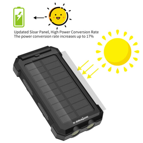 300000mAh Portable External Solar Power Bank 2USB Battery Charger for Cell Phone