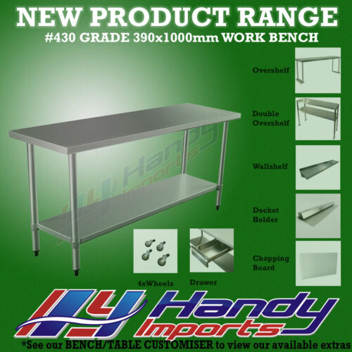 1000 x 390mm STAINLESS STEEL #430 NARROW WORK BENCH KITCHEN FOOD PREP SLIM TABLE