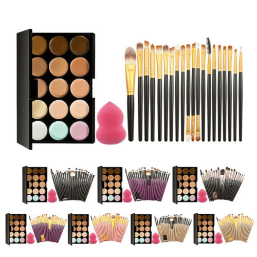 Concealer Palette Makeup Contour Face Cream 15 Color Professional + 20 Brush US
