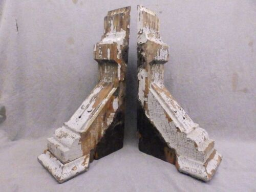 Antique Pair Wood Corbels Brackets Victorian Gingerbread Shabby Vtg Chic 139-17R