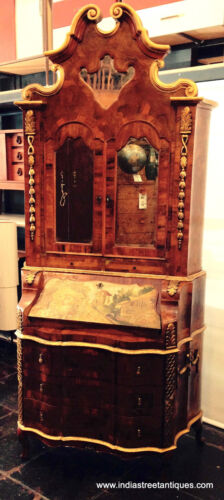 c.1900-1930 Painted,Gilded, Mirrored Olive Wood Venetian Secretary Desk