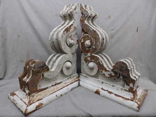Large Antique Pair Wood Corbels Shabby Cottage Chic Vintage 209-17R