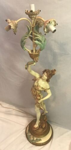Art Nouveau Deco L F Moreau Signed French Victorian Figural Table Lamp - LARGE!