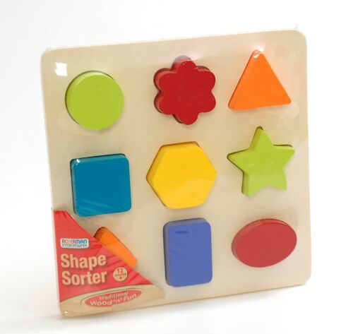 Wooden Shape Sorter Toy Puzzle Learning Multicoloured New