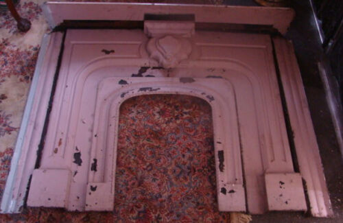 ANTIQUE LATE 1800'S ORNATE CAST IRON FIREPLACE HALF MANTEL ORNATE DESIGN