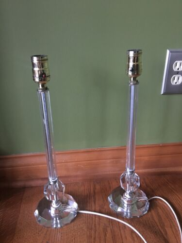 """Pair of Vintage Antique Table Lamps Italian Crystal Glass & Brass Sockets 16"""""""