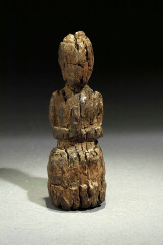 Antique small ethnic wooden inspiring Devotee statue from 18th century Laos
