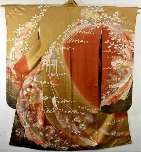 Vintage Woman's Kimono - Design of Flowers in Warm Autumn Tones with Gold