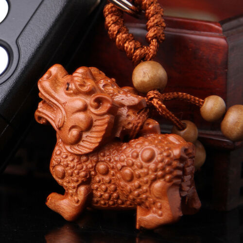 Wood 3D Carving Chinese Wealth Pixiu Pi Yao Statue Sculpture Pendant Key Chain