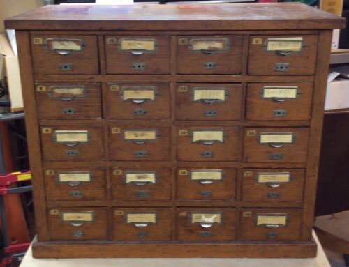 Antique Mid 1900's Solid Oak 20 Drawer File Cabinet Office Library Bureau.