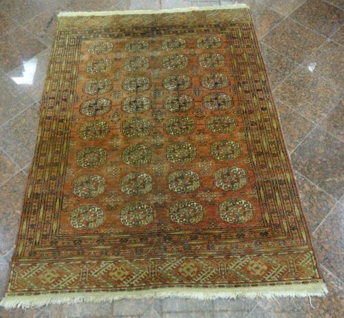 """ANTIQUE HAND KNOTTED BOKHARA GEOMETRIC GULLS & POLYGONS RUG ~68""""x50"""""""