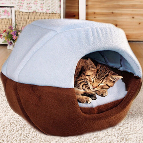 Removable Cushion Warm Dog Cat Pet Sleep Bed House Collapsible Cave Mat