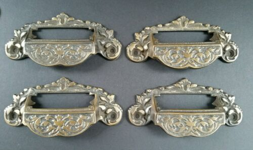 """4 Victorian Antique Style Apothecary Bin Pull Handles w.label holder 4 3/4"""" #A7"""