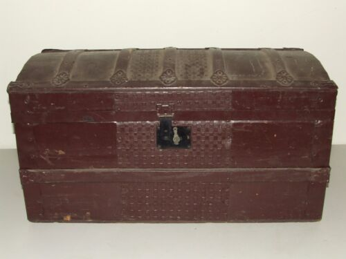 Antique 1800's Painted Victorian Dome Top Steamer Trunk, Rare Small Size!