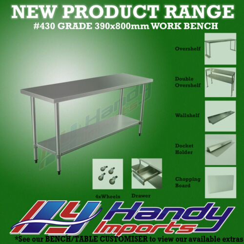 800 x 390mm STAINLESS STEEL #430 NARROW WORK BENCH KITCHEN FOOD PREP SLIM TABLE