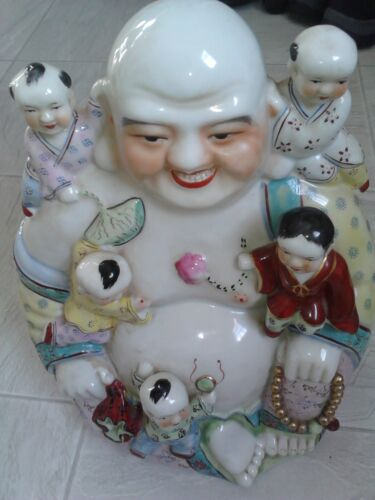 Large Vintage Antique Chinese Porcelain Happy Laughing Buddha With 5 Kids