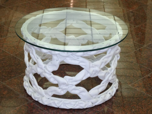 VINTAGE 70's ROUND RESIN RIBBON COFFEE SIDE TABLE IN STYLE of TONY DUQUETTE 24""