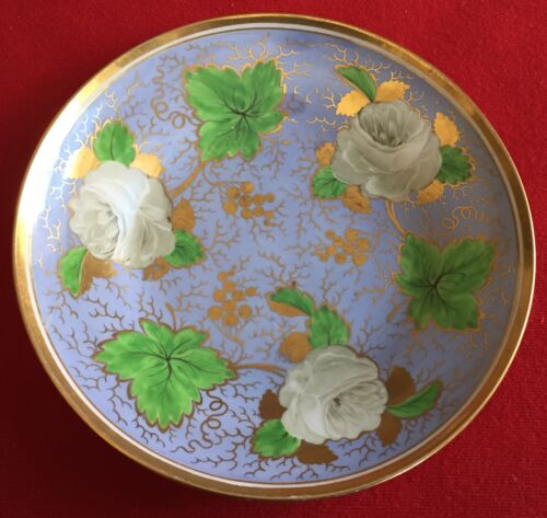 Antique 19th c. Ridgway Porcelain Plate Low Bowl White Roses on Blue Ground