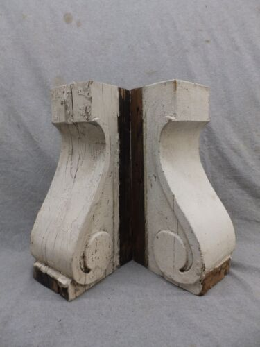 Antique Pair Wood Corbels Bookend Shabby Cottage Chic Gingerbread Vtg 264-17R