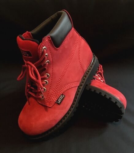 Ladies Red Safety Toe Cap Work Boots - 0495