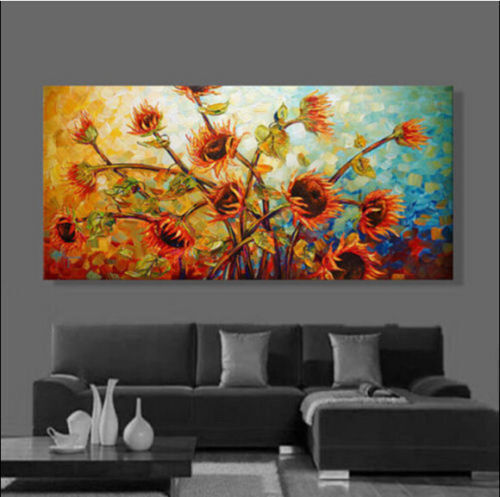 CHOP158 hand-painted modern abstract sunflower oil painting home art on canvas