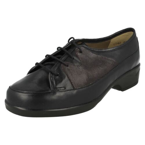 Ladies Equity Navy Leather/Star Suede Print Lace Up Shoe Rose 3E/4E