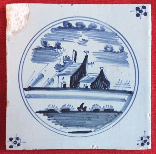 Antique 18th / 19th century Delft Tin Glazed Landscape Tile Blue & White Castle