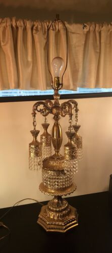 """Magnificent Hollywood Regency 44"""" Large Ornate Brass & Glass Accents Table Lamp"""