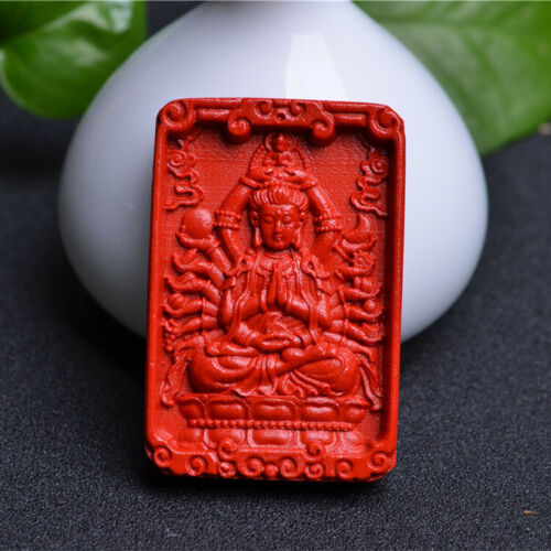 Natural Red Cinnabar Carving Lacquer Chinese Thousands Hands Kwan Yin Pendant