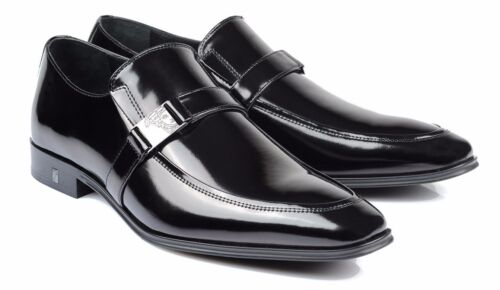 Versace Collection Medusa Black Patent Leather Dress Shoes Loafers V323 new