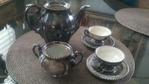 Set of six PW U.S. Zone vintage teapot, bowl, cup & saucer set, made in Germany