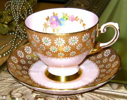 TUSCAN GOLD CHINTZ & PINK BLUSH HAND PAINTED FLORAL TEA CUP AND SAUCER