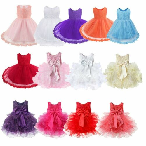 Infant Baby Girl Pageant Party Birthday Wedding Princess Lace Tutu Flower Dress