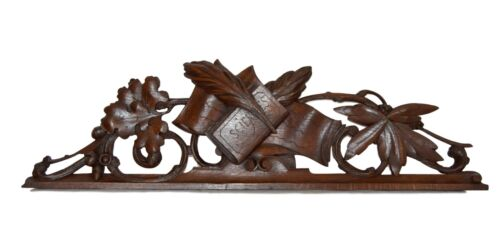 French Antique Hand Carved Wood Pediment Architectural - Science Book Plume