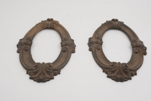 Pair of Old Brass/Bronze Oval Frames Antique Victorian (G4R) 11x6.5