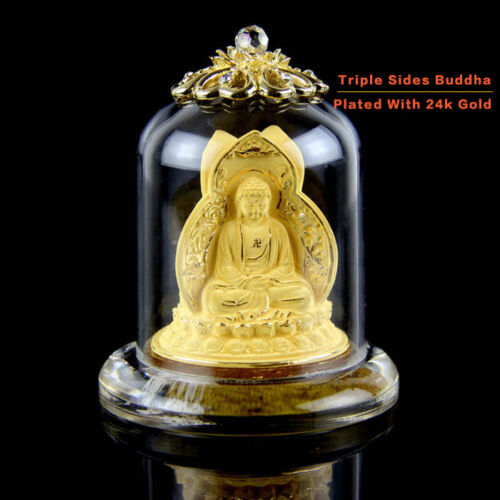 Pure Flocking Alluvial Gold Plating Chinese Shakyamuni Buddha Three Sides Statue