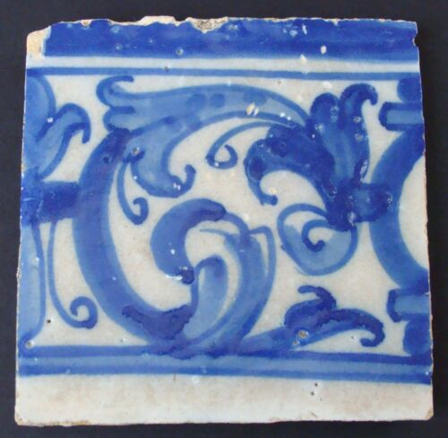 Antique Portuguese Azulejo Tile~17th or 18th Century?~Blue And Beige