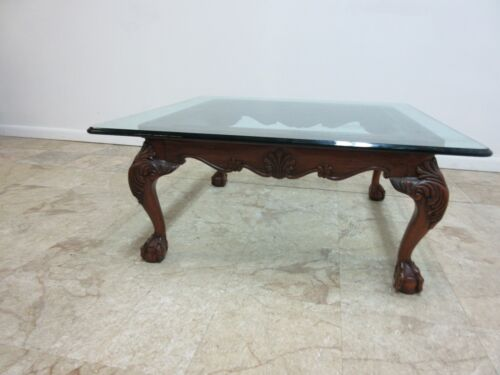 Pennsylvania House Solid Mahogany Ball Claw Chippendale Glass Coffee Table