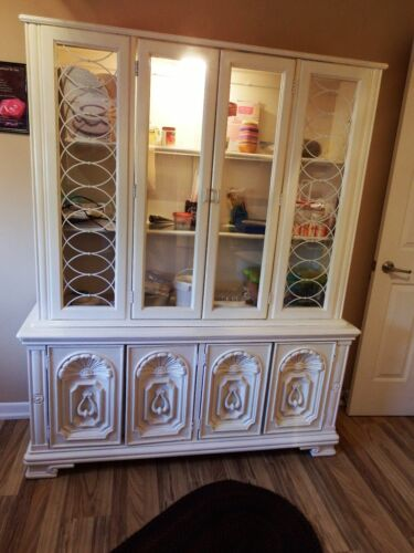 CHINA CABINET Lighted Breakfront Hutch VINTAGE Antique White