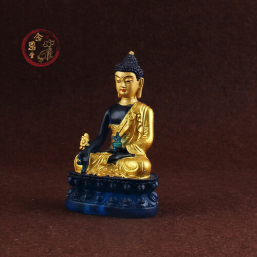 Shakyamuni Buddha Statue Medicine Guru Amitabha Ancient Resin Stained Glass