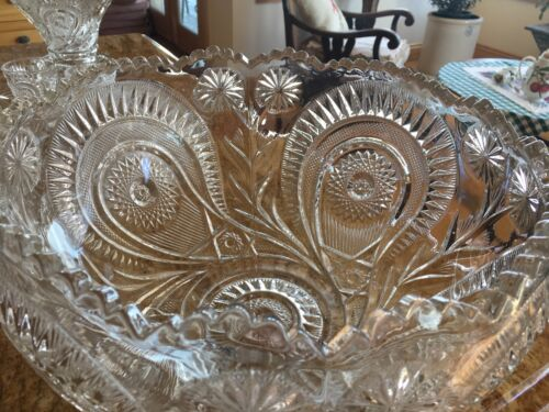 Antique Crystal  Complete 17 pcs Punch Bowl Set  Large Heavy Cut Crystal.