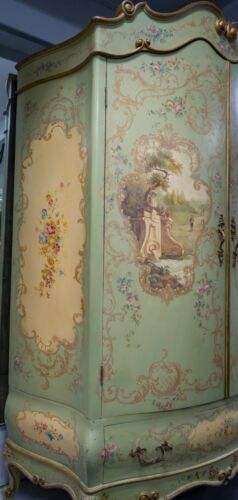RARE FIND & HUGE! Gorgeous Antique French Venetian Hand Painted Armoire Roses