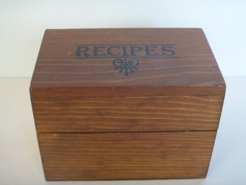 """""""Recipes"""" Wood 3x5 Card File Box Recipe Cards Included"""