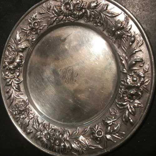 PAIR ESTATE STERLING ANTIQUE BREAD BUTTER PLATES REPOUSSE BY S KIRK