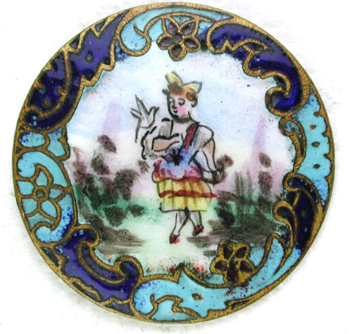 """Antique French Enamel Button Strolling Woman w/ Champleve Border - 1 & 1/16"""""""