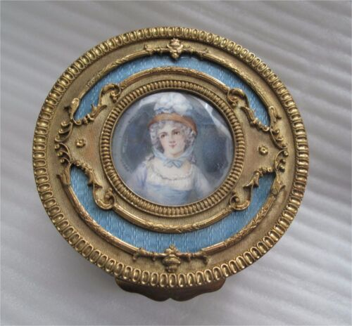 French bronze guilloche enamel box hand painted miniature portrait by Vely 1890