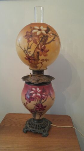 Antique c1880 Gone With the Wind Oil Lamp~GWTW~Hand Painted~Floral~Converted~VGC