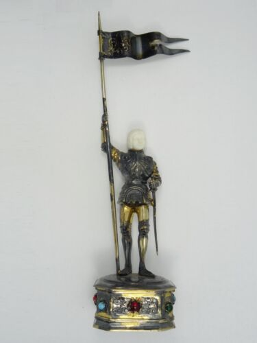 STUNNING GOLD VERMEIL STERLING GERMAN JOAN of ARC FIGURAL STATUE with GEMS