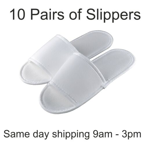 10 pairs SPA HOTEL GUEST SLIPPERS OPEN TOE TOWELLING DISPOSABLE TERRY STYLE NEW <br/> FREE FAST order by 2.30pm✔15% Multi-buy✔ UK supplier ✔